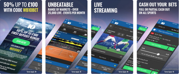 10 bet screen shots, app available on itunes and the Google Play store in the UK