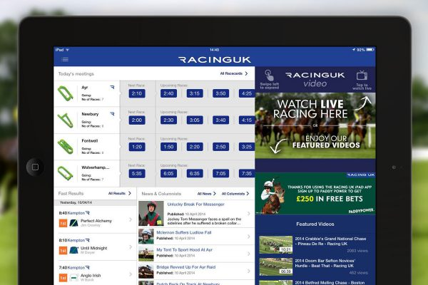 Racing UK app on tablets give you a clearer view of race streams - Made by Thom Bransom
