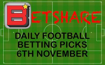 Daily football betting picks – 6th Nov 2019