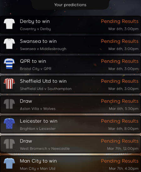 up for 8 predictions
