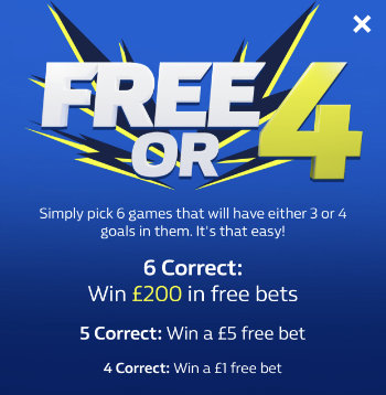 William Hill FREE OR 4 information